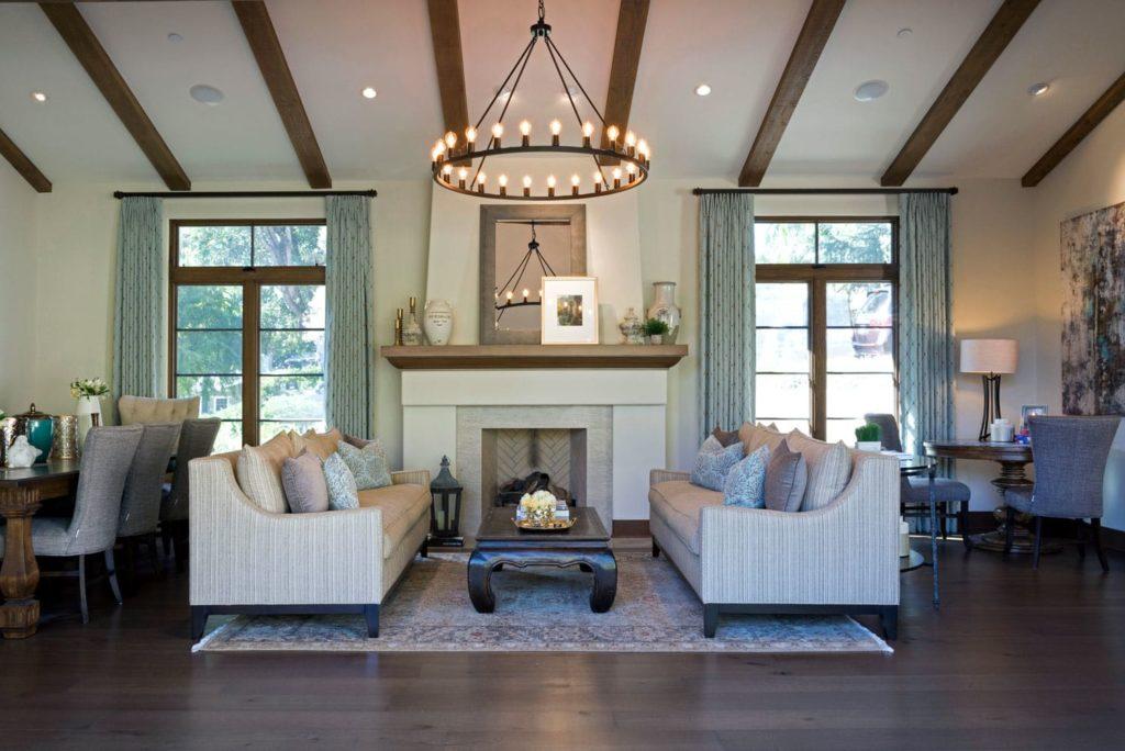 Living room fireplace design of a La Cañada Blvd house