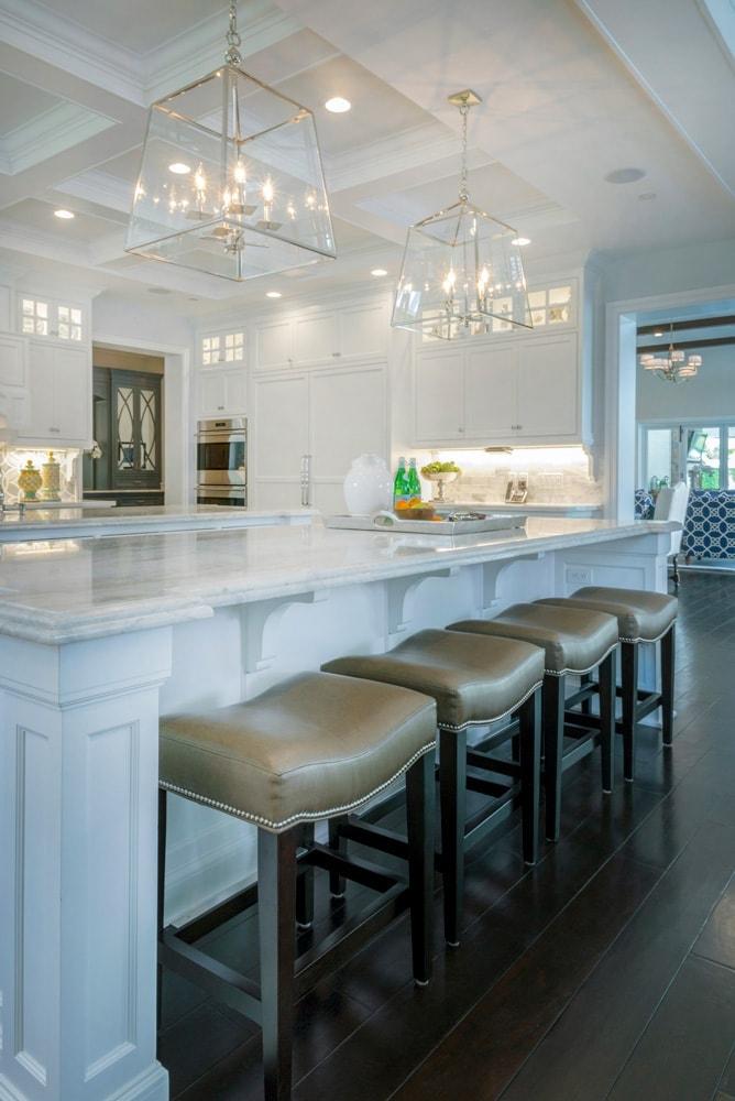 Kitchen island interior design of Berkshire home, La Cañada