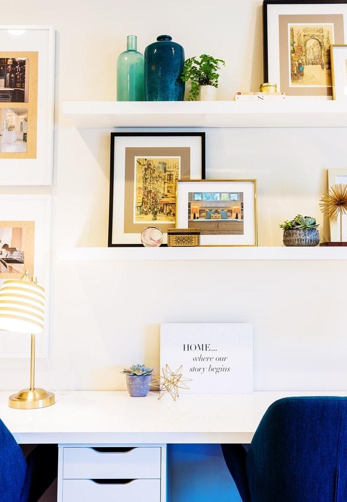 Interior design office desk decor in La Cañada