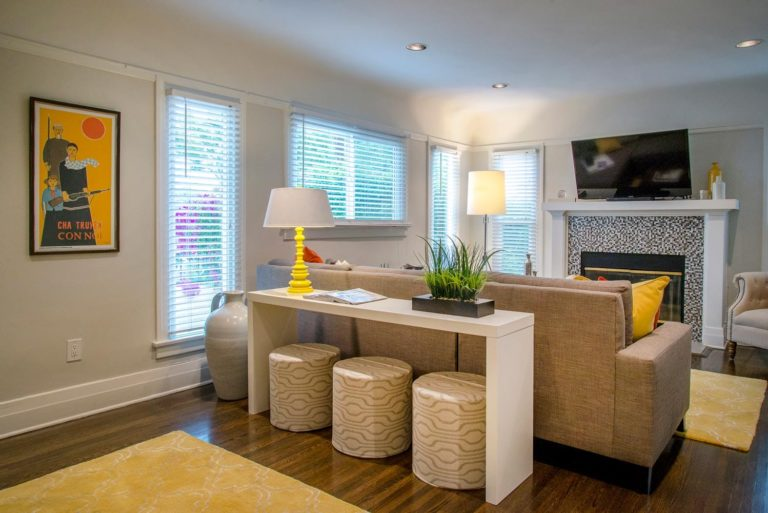 Luxury living room interior design of a bungalow, Los Angeles