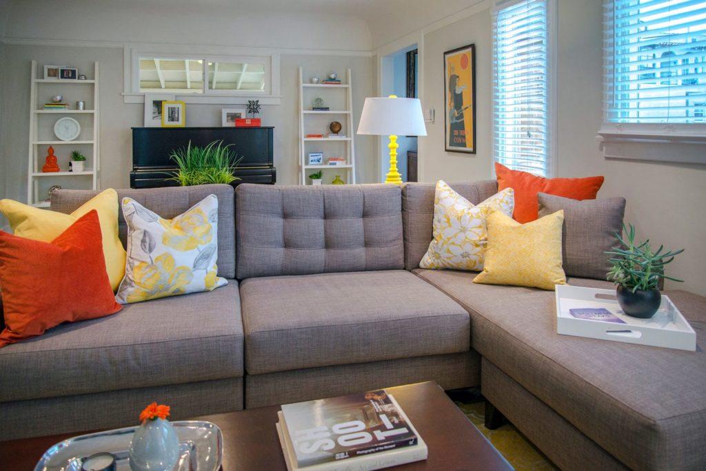 Bungalow living room interiors, Los Angeles