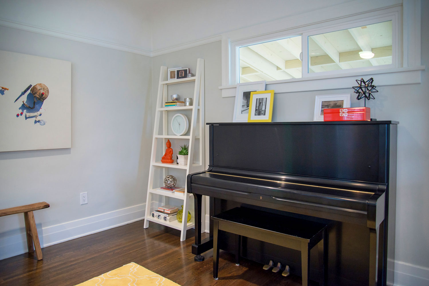 Music room design of a bungalow in Los Angeles