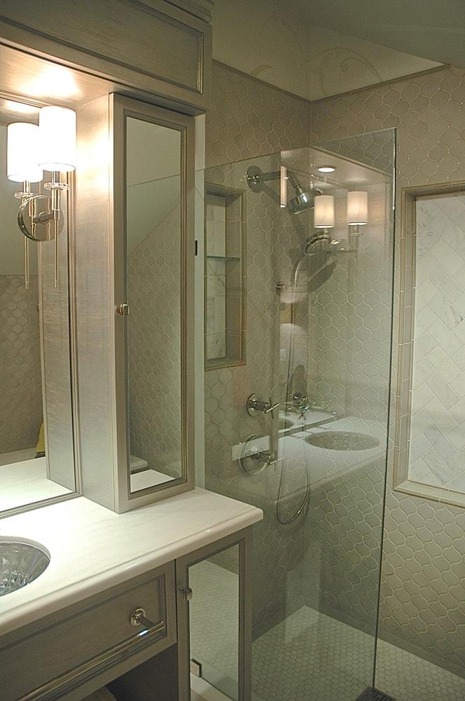 Showcase house walk-in shower design in Pasadena, CA