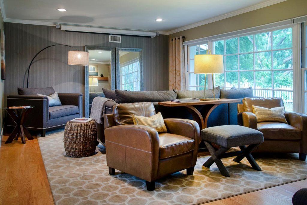 Luxury living room interior design at Wilmar Road, La Cañada